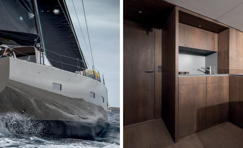 Left, exterior of Bella Yacht. Right, its wooden interior deck