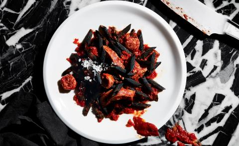 Robert Longo's recipe for Wallpaper's artist's palate series, featuring black pasta and 'blood and guts' sauce