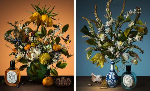 still life of two bouquets, one blue and one orange