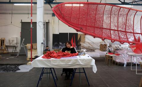 Portrait of Chiharu Shiota inside her Berlin studio, photographed by Sunhi Mang