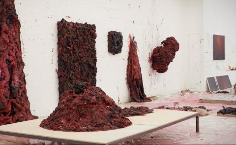 A view of Anish Kapoor's sculptures inside the artist's studio in Camberwell, London