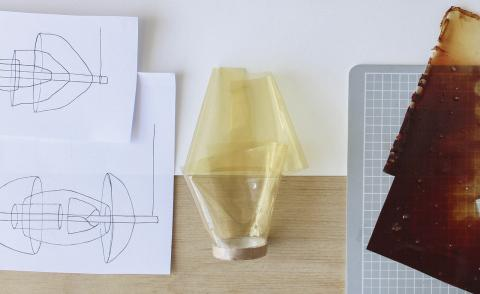 Faye Toogood's colour therapy lamp is made from shellfish waste
