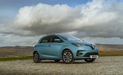 Renault Zoe parked on a gravel hillside