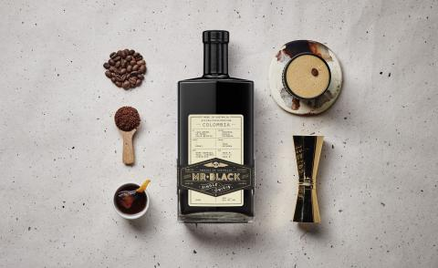 Mr Black Single Origin Colombia bottle on a grey background
