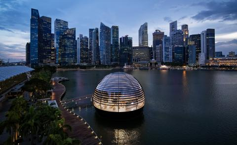 Apple's glowing glass sphere is the newest spectacle on Singapore's skyline