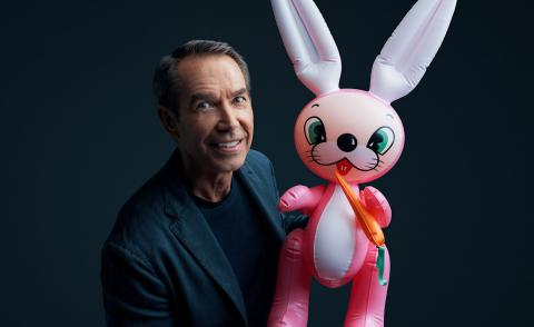 Portrait of Jeff Koons with an inflatable rabbit for his MasterClass
