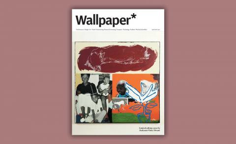 Zimbabwean painter Kudzanai-Violet Hwami's cover design for Wallpaper's January 2021 issue featuring her painting, Plains of the Christmas Cow