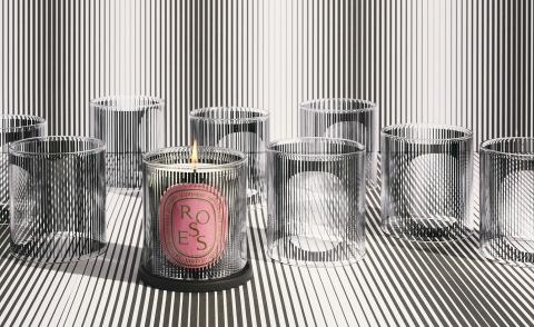 diptyque 60th anniversary rose candle with balck and white graphic designs