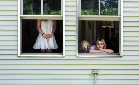 Rania Matar, Sydney, Nathalie and Sunny the Dog, Weston, Massachusetts, 2020 part of the exhibition On Either Side of the Window: Portraits During Covid-19