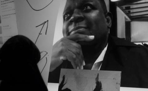 Portrait of installation artist, filmmaker and educator Isaac Julien shot via Zoom by photographer Larry Fink