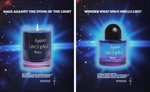 Travis Scott and Byredo 'Space Rage' candle and fragrance in blue and purple glass containers against image of the night sky