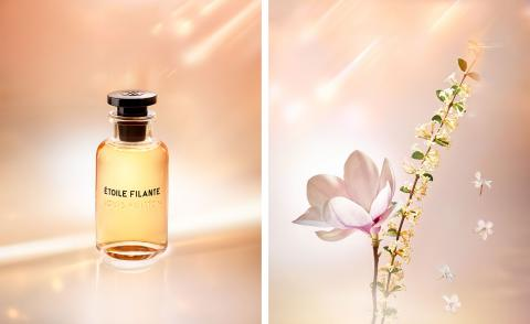 Louis Vuitton Étoile Filante fragrance next to an image of the white osmanthus flower, its keynote ingredient