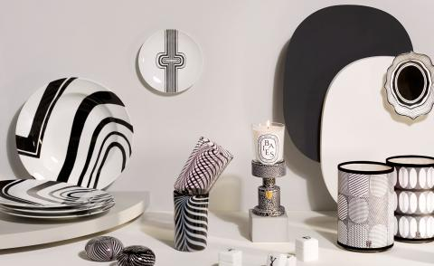 diptyque 60th anniversary entertaining and tableware collection decorated with black and white patterns