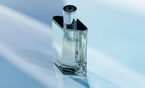 Hermes H24 men's fragrance in diamond shaped glass bottle with silver cap