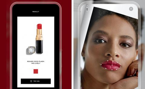 chanel lipscanner app on iphone against dark red background next to image of woman using the app on her iphone