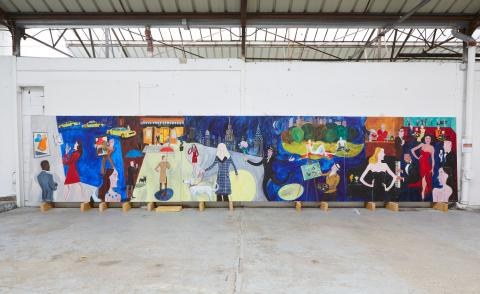 Jean-Philippe Delhomme's mural, pictured in the artist's Paris studio. The French artist painted the mural, titled New York Shufflefor new members' club, Carlyle & Co.