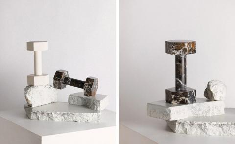 black and white marble dumbells designed by Addition Studio