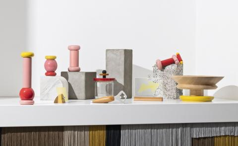 Collection of colorful kitchen accessories by Ettore Sottsass and Andrea Branzi for Alessi in wood and metal