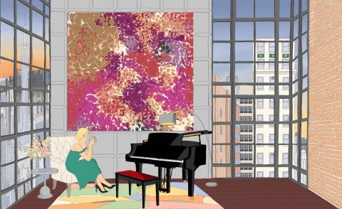 A woman sits in a minimalist apartment next to a grand piano in Rewind Collective, Thinking of Lynne,non-fungible token (.mp4)