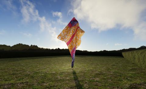 TheVov's virtual presentation of Yinka Shonibare CBE RA's Wind Sculpture VII, as part of Yorkshire Sculpture Park's digital revival of 'FABRIC-ATION'