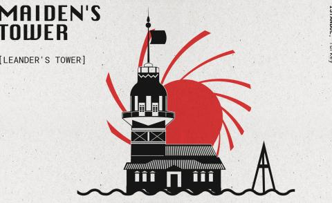 black and red drawing of Maiden's Tower from the russia with love Bond movie