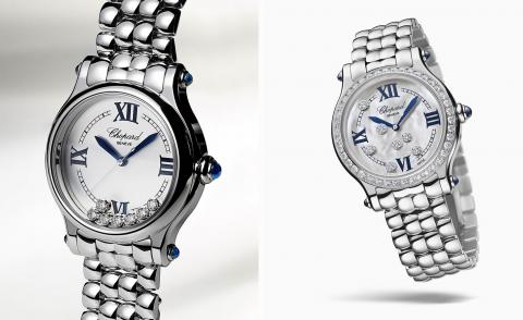 Chopard Happy Sport watch in steel and diamonds against a pale grey background