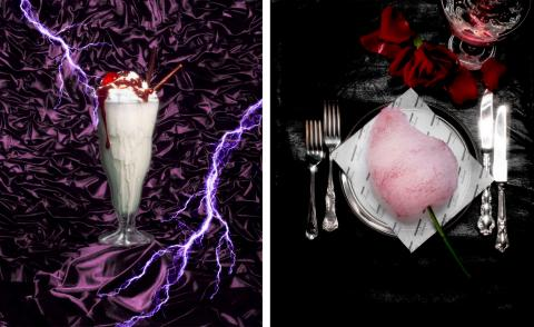 DeadHungry milkshake against purple background next to savoury cotton candy served on plate at Selfridges Cinema