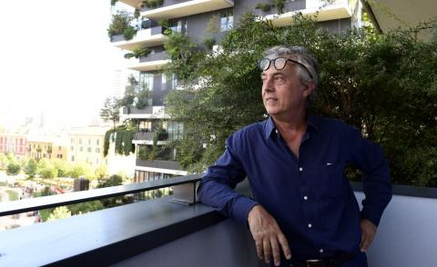 Italian architect and urban planner Stefano Boeri on 5 September, 2017 at the architectural complex designed by Studio Boeri, the 'Bosco Verticale' (Vertical Forest) in the Porta Nuova area in Milan