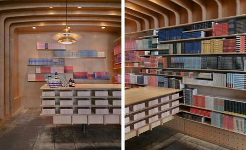 aesop new york store queer library with books by LGBTQIA+ authors on shelves