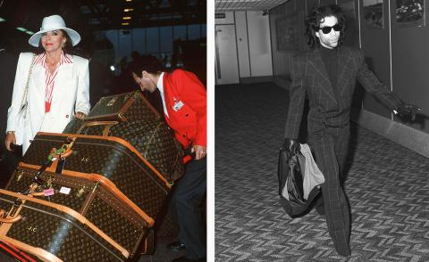 Left, joan Collins with Louis Vuitton cases and right, Prince in a suit and sunglasses