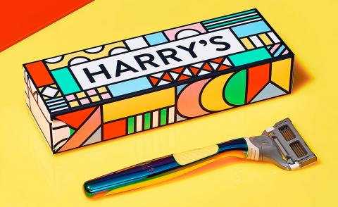 harry's Stride with Pride razor with yellow handle and box designed by Zipeng Zhu