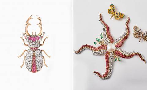Left, pink and diamond beetle brooch and right, jewelled starfish with a pearl in the middle