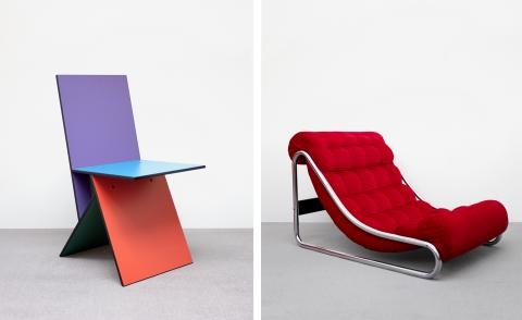 Vintage IKEA furniture: left is Verner Panton's Vilbert Chair from 1994, and right is the Impala lounge chair by Gilis Lundgren, from 1972