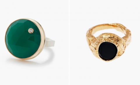 Left, green ring with diamond and right, gold ring with black onxy