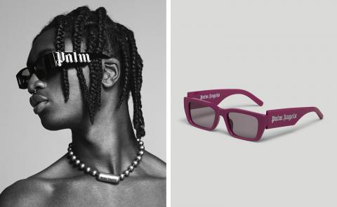 Palm Angels black sunglasses worn by model and still life of magenta styles
