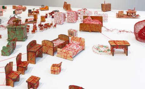 Installation view of Chiharu Shiota, 'LivingInside' at Galerie Templon, Brussels, a doll's house like installation of sculpture.Photography:Isabelle Arthuis