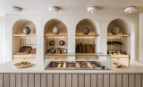 Liberté paris bakery breads and pastries on display in minimalist interior designed by Emmanuelle Simon