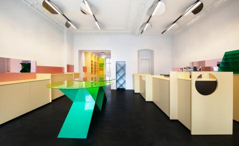 Colourful interiors of Berlin concept store MDC Next Door designed by Gonzalez Haase and inspired by Gordon Matta-Clark