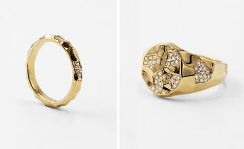Gold faceted rings with diamonds