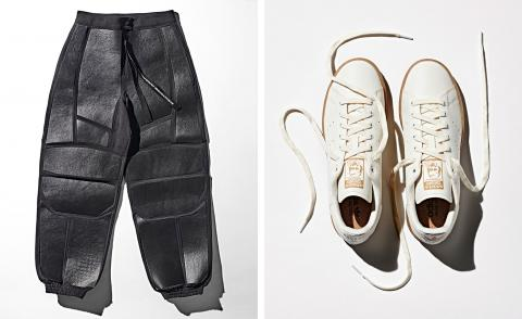 Mylo utility trousers, by Stella McCartney, and Bolt Threads and Prototypes of Stan Smith Mylo trainers, by Adidas