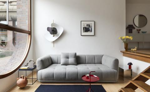 Grey sofa by Doshi Levien for Hay photographed inside a Barbican aparment