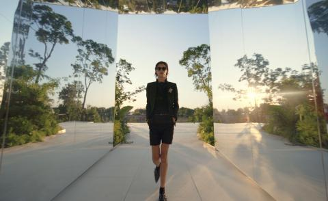 Saint Laurent S/S 2022 collection staged in a living artwork designed by Doug Aitken