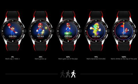 Watches featuring Super Mario on the dial against a black background