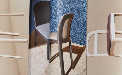 Collage showing the Tea chair by Jasper Morrison for Molteni & C featuring a curved back and wooden structure in different colours of wood