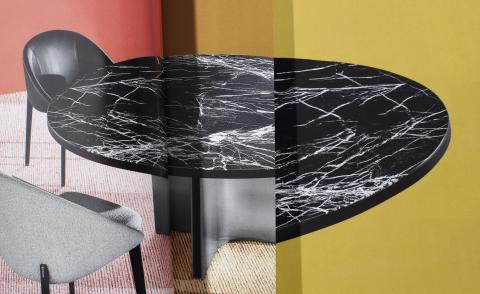 Collage of marble dining table by Rodolfo Dordoni for Minotti with black top featuring white veins