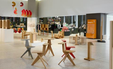 Exhibition view of Discovered at Design Museum, London, showing design objects in wood
