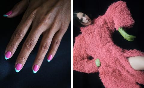 green and hot pink nails next to image of girl in hot pink feather Bottega Veneta coat with green leather gloves
