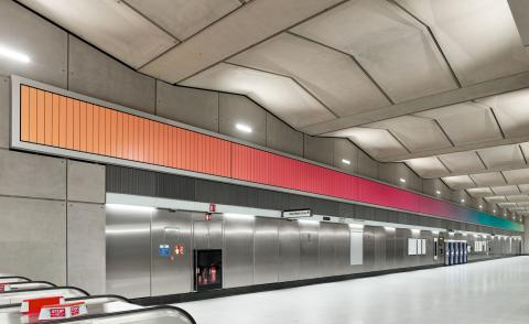 All images:Alexandre da Cunha, Sunset, Sunrise, Sunset, 2021, Battersea Power Station Underground station. Commissioned by Art on the Underground. Courtesy the artist and Thomas Dane Gallery. Photo by GG Archard, 2021