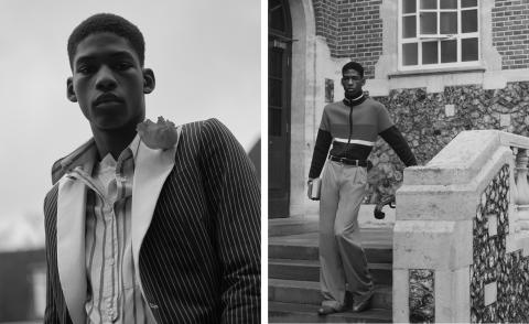 Wales Bonner A/W 2021 pinstripe suit and sports jacket