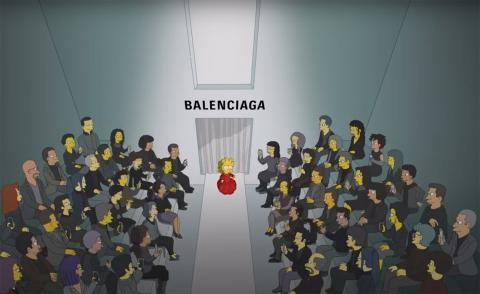 Still from Balenciaga episode of The Simpsons cartoon, with Lisa on the runway
